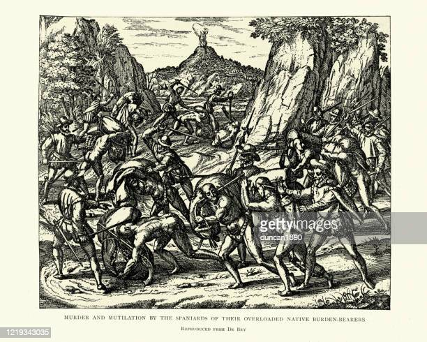 murder and mutilation by spanish conquistadors of natives, 16th century - spanish culture stock illustrations