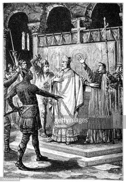 murder of thomas becket - bishop clergy stock illustrations, clip art, cartoons, & icons