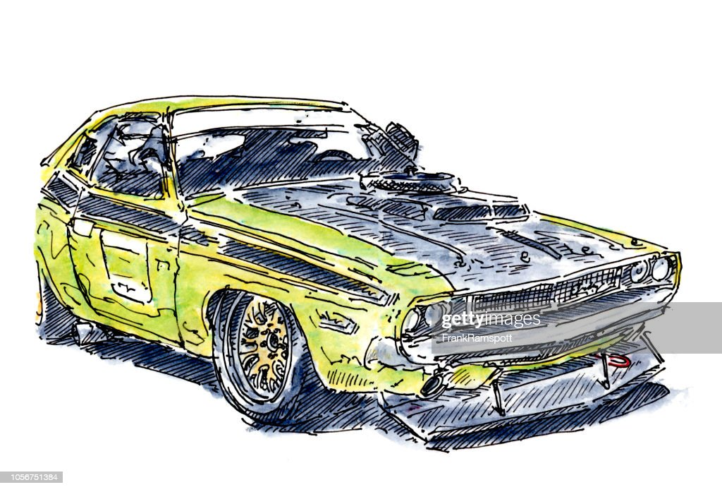 US-Muscle-Car Rennwagen Tinte, Zeichnung und Aquarell : Stock-Illustration