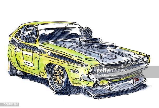 US-Muscle-Car Rennwagen Tinte, Zeichnung und Aquarell