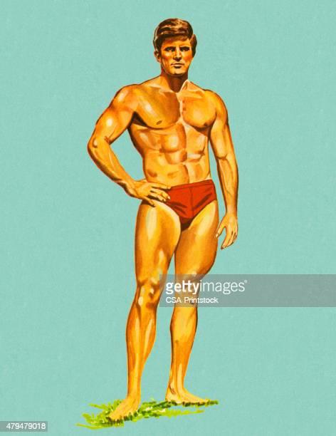 muscle man in swim trunks - swimwear stock illustrations, clip art, cartoons, & icons