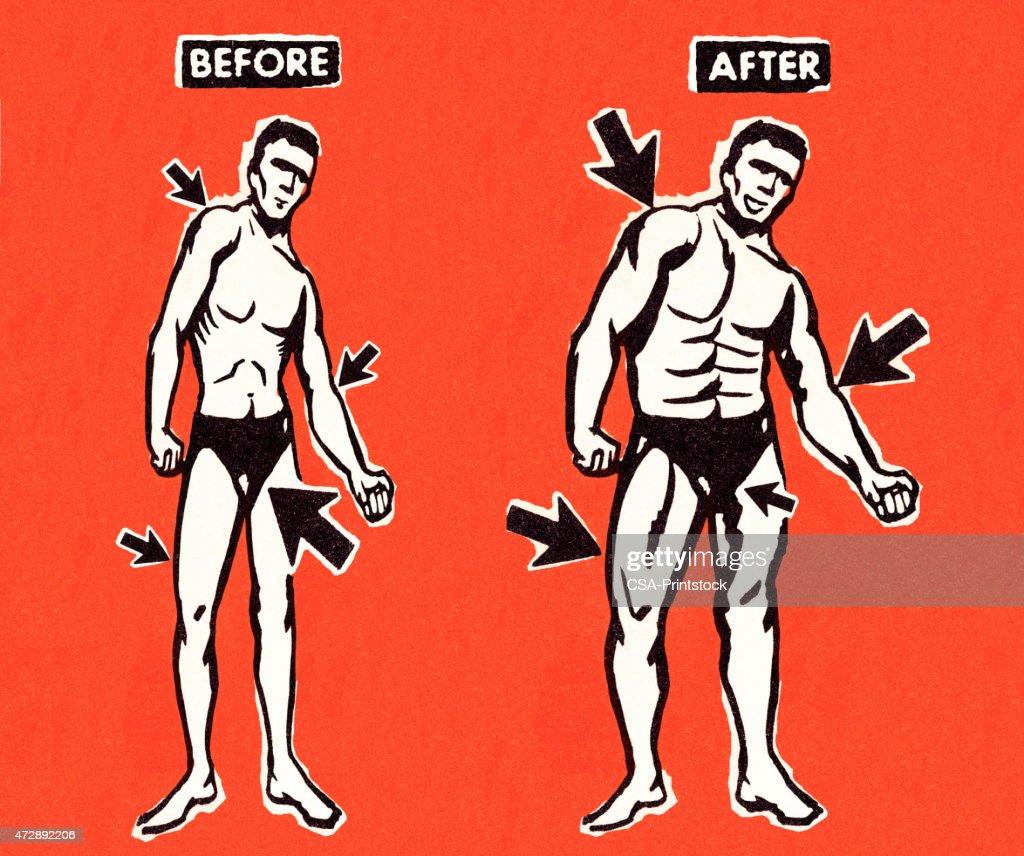 Homem Músculo Transfiguração : Ilustração de stock