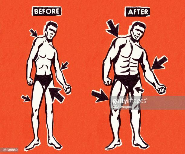 muscle man makeover - anticipation stock illustrations