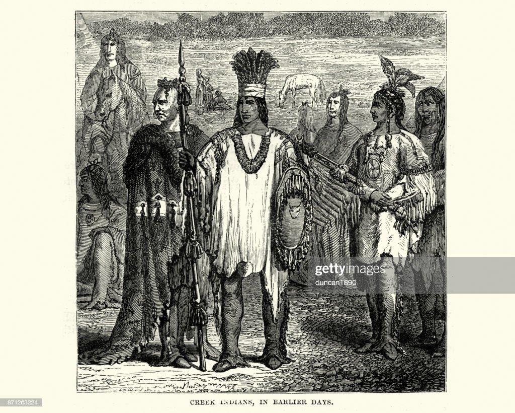 Muscogee or Creek Native American, 19th Century : stock illustration