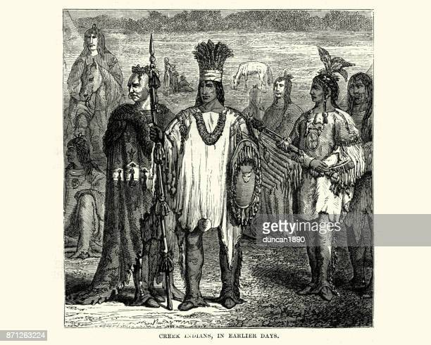 muscogee or creek native american, 19th century - indigenous north american culture stock illustrations, clip art, cartoons, & icons