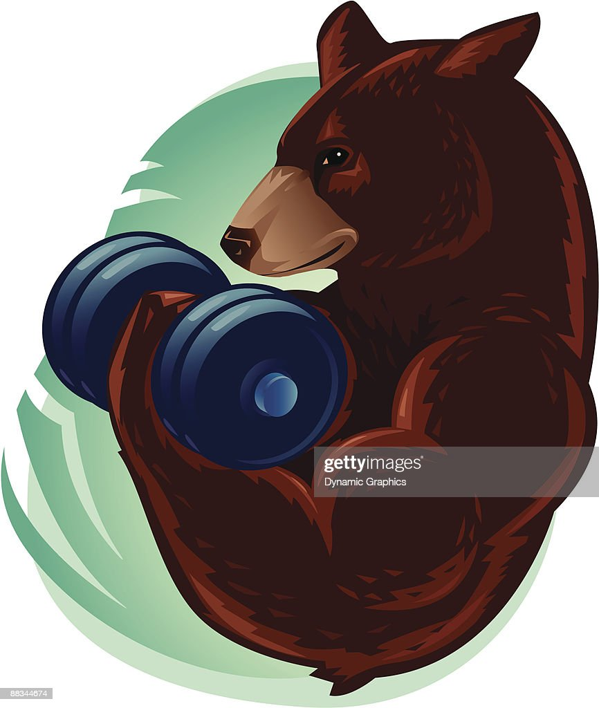 Muscular bear working out with a dumbbell, Color : stock illustration