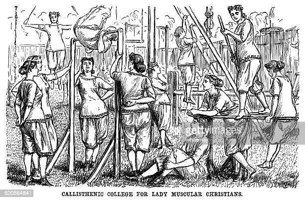 muscular victorian ladies keeping fit - leisure facilities stock illustrations, clip art, cartoons, & icons