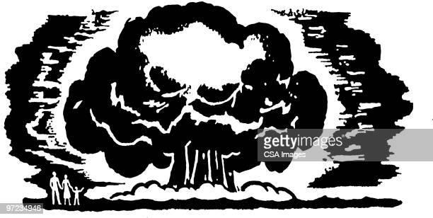 mushroom cloud - air pollution stock illustrations