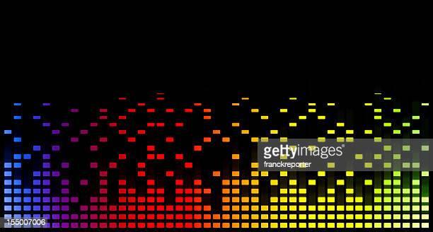 stockillustraties, clipart, cartoons en iconen met music equaliser blurred graph - oscilloscoop