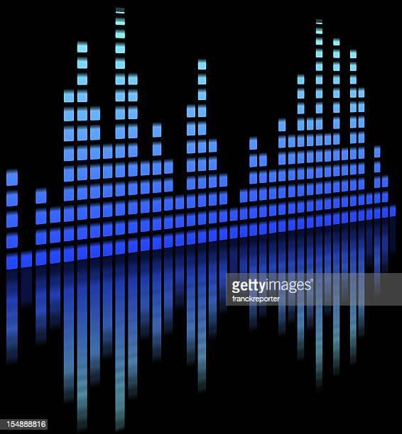 illustrazioni stock, clip art, cartoni animati e icone di tendenza di musica equaliser offuscata in sfondo nero-mixer - studio di registrazione
