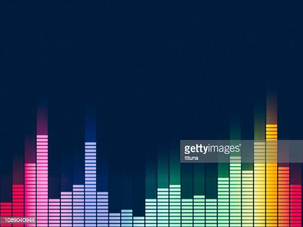 illustrazioni stock, clip art, cartoni animati e icone di tendenza di equalizzatore musicale, sfondo della tecnologia astratta della forma d'onda audio - gol di pareggio
