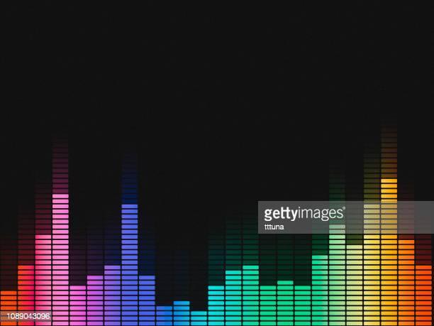 illustrazioni stock, clip art, cartoni animati e icone di tendenza di music equalizer, audio waveform abstract technology background - gol di pareggio