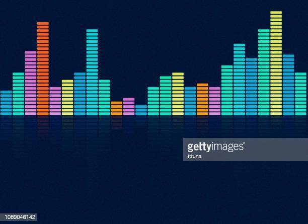 stockillustraties, clipart, cartoons en iconen met muziek equalizer, audio golfvorm abstracte technische achtergrond - equalizer