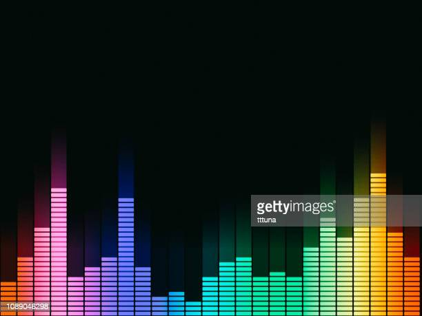 music equalizer, audio waveform abstract technology background - audio equipment stock illustrations