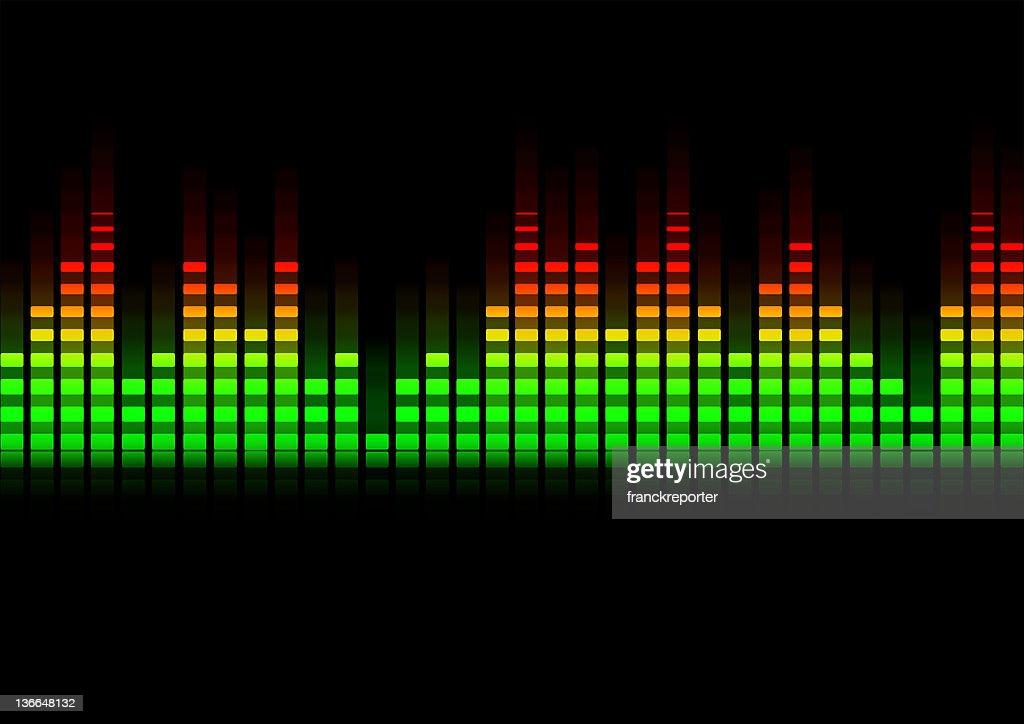 music equalizer blurred in black background : stock illustration