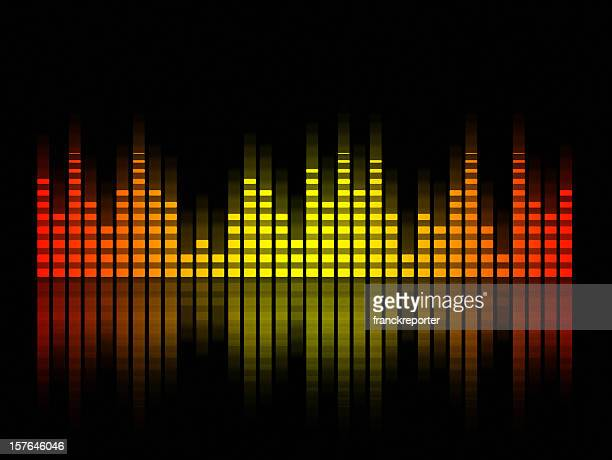 music equalizer blurred in black background, spain  flag - audio equipment stock illustrations, clip art, cartoons, & icons
