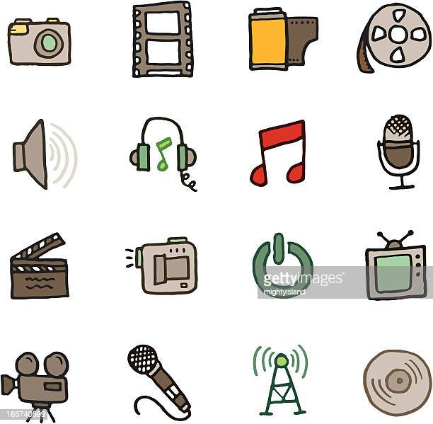 Music film media icon doodle set