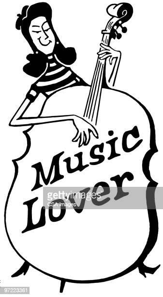music lover - double bass stock illustrations, clip art, cartoons, & icons