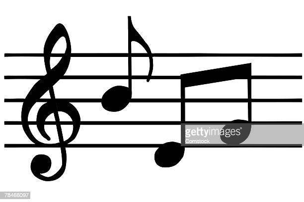 music notes in black and white - treble clef stock illustrations, clip art, cartoons, & icons