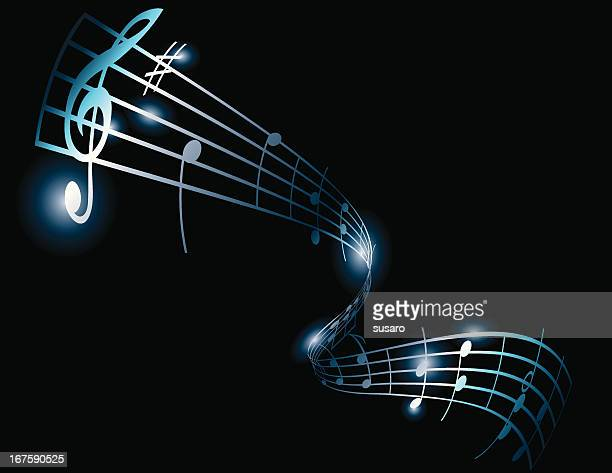 music notes on bars - treble clef stock illustrations, clip art, cartoons, & icons