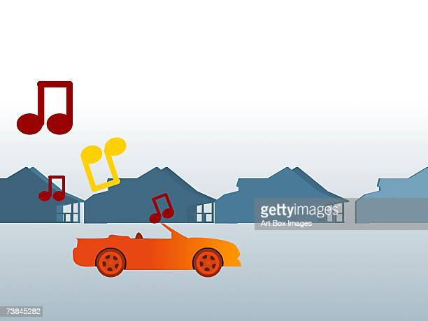 music scores over a convertible car on the road - number of people stock illustrations, clip art, cartoons, & icons