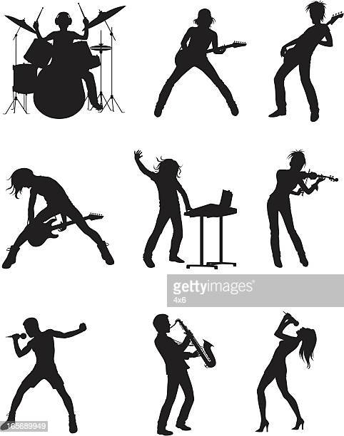 musical bands - guitarist stock illustrations, clip art, cartoons, & icons