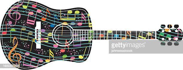 60点のアコースティックギターのイラスト素材クリップアート素材