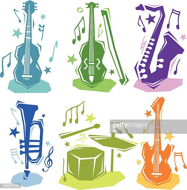 musical instruments - jazz stock illustrations, clip art, cartoons, & icons