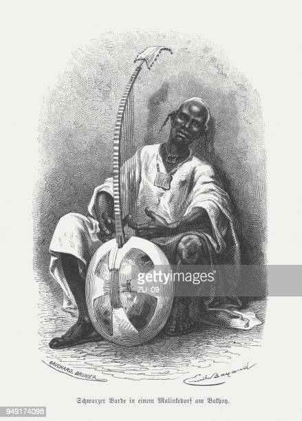 musician from the mandinka people in west africa, published 1868 - mali stock illustrations, clip art, cartoons, & icons