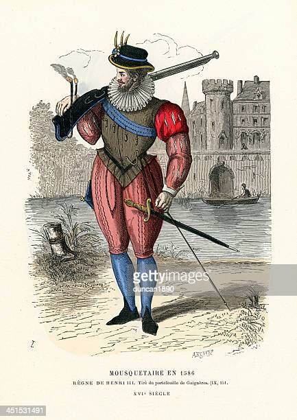 musketeer 1586 - musketeer stock illustrations, clip art, cartoons, & icons