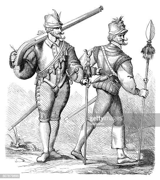 musketeer and officer of infantry 16th century - 16th century style stock illustrations, clip art, cartoons, & icons