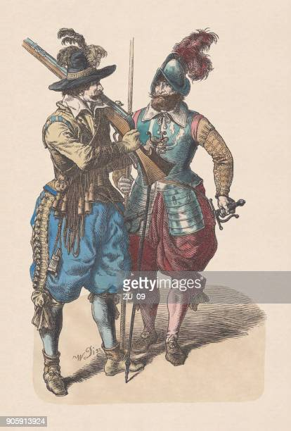 musketeer and pikeman, middle 17th century, hand-colored woodcut, published c.1880 - musketeer stock illustrations, clip art, cartoons, & icons