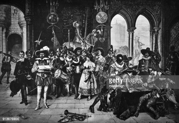 musketeers at the time of announcing the decree in tavern - 1896 - musketeer stock illustrations, clip art, cartoons, & icons