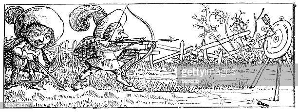 musketeers shooting arrows - musketeer stock illustrations, clip art, cartoons, & icons