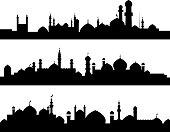 Muslim cities silhouettes