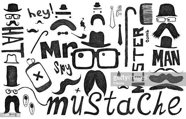 Moustache, Chapeau, lunettes scrawl