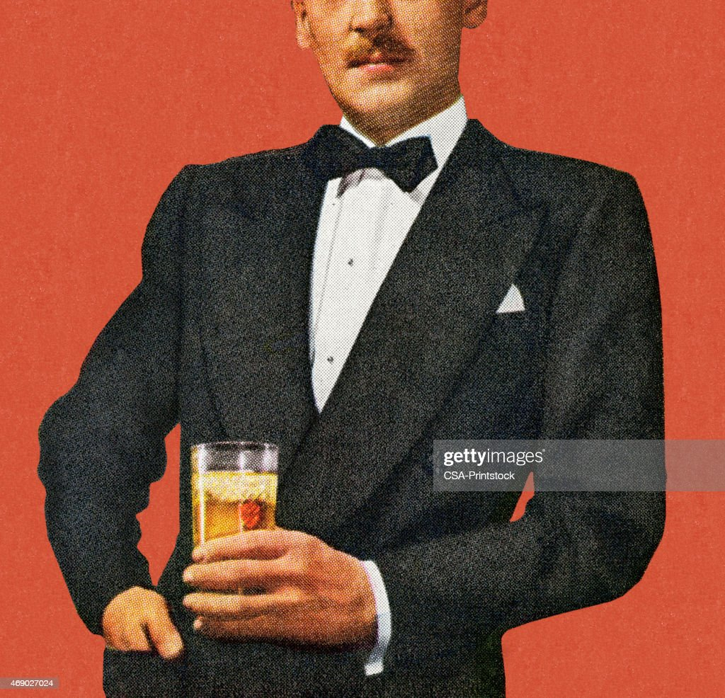 Mustache Man In Tuxedo Holding Drink : stock illustration