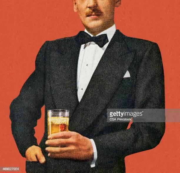 mustache man in tuxedo holding drink - whiskey stock illustrations