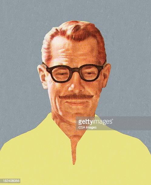 mustache man wearing glasses - only men stock illustrations