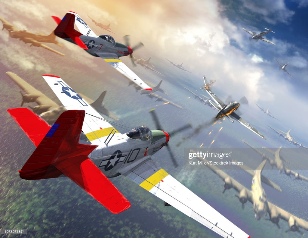 P-51 Mustangs escorting B-17 bombers from German fighter planes. : stock illustration