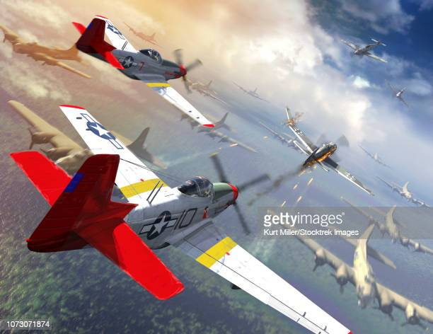 P-51 Mustangs escorting B-17 bombers from German fighter planes.
