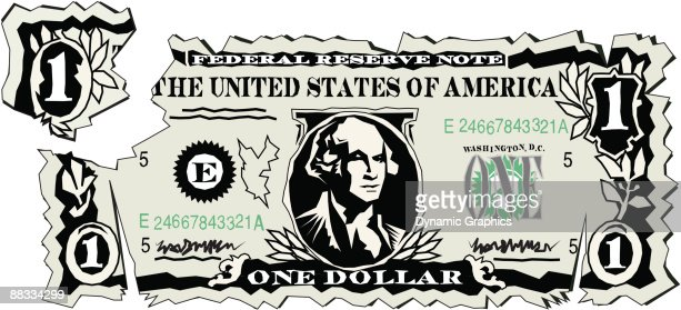mutilated one dollar bill federal reserve note united states of