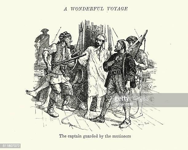 mutiny on the bounty - captain bligh under guard - us navy stock illustrations, clip art, cartoons, & icons