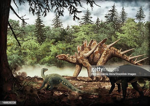 mutualistic relationship between dacentrurus armatus and draconyx loureiroi, portuguese tithonian age (late jurassic).   - animal spine stock illustrations, clip art, cartoons, & icons