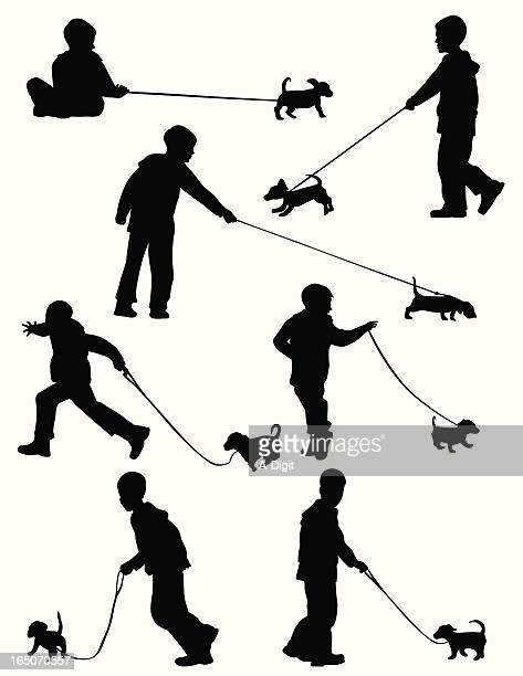 my new puppy vector silhouette - dog leash stock illustrations