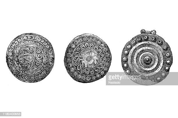 mycenaean greece (or the mycenaean civilization) mycenae gold buttons - mycenae stock illustrations