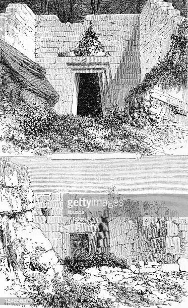 mycenae's ruins - mycenae stock illustrations