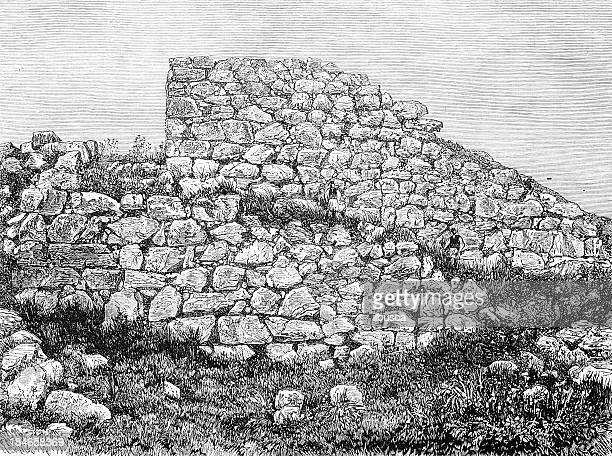 mycenae's wall - mycenae stock illustrations
