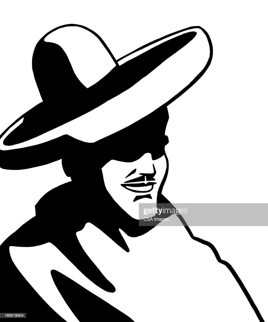 Mysterious Man Wearing a Hat : Stock Illustration