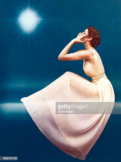 mysterious woman in a gown - evening gown stock illustrations